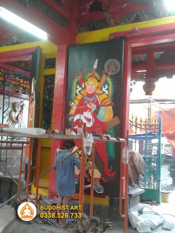 Buddhist Art tiến hành phục chế tranh cửa tại hội quán Ôn lăng Quận 5