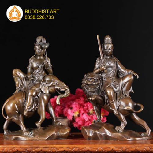 Tượng Phật Văn Thù Bồ Tát và Phổ Hiền Bồ Tát bằng đồng