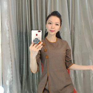 Áo Lam đi chùa mẫu cổ tròn xẻ tà viền cam