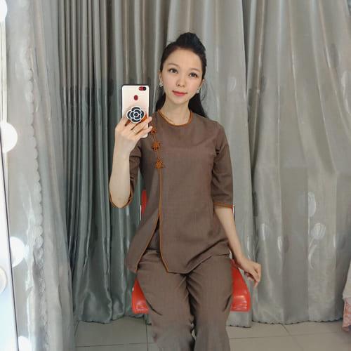 Áo Lam đi chùa mẫu cổ tròn xẻ tà viền cam đẹp